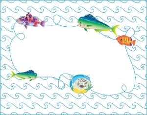 FishFrameWavesDoodleArt