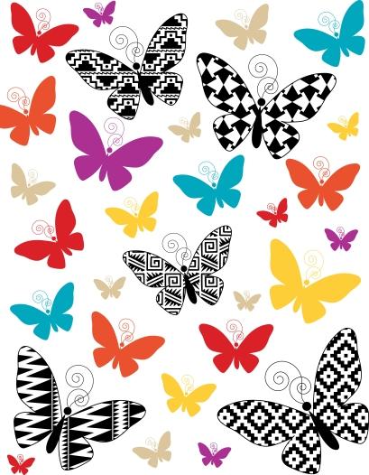 ButterflyMarkerArtCollageAztecStyle